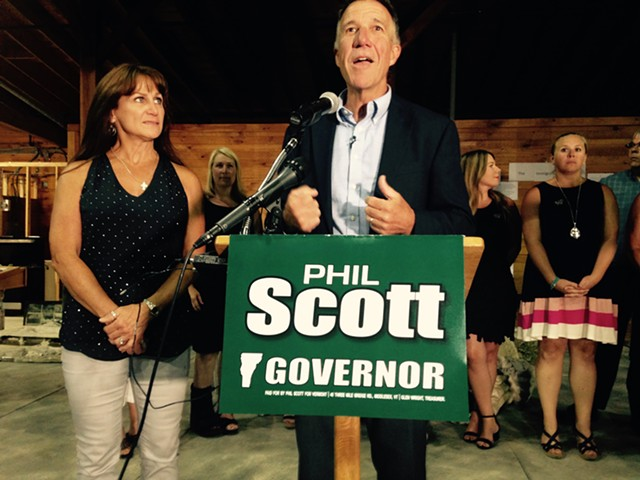 Lt. Gov. Phil Scott addresses supporters Tuesday night in Barre. - MOLLY WALSH