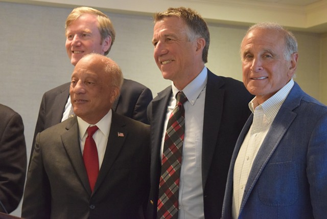 Republicans on Wednesday rallied for party unity. From left to right: Scott Milne, U.S. Senate candidate; Randy Brock, lieutenant governor candidate; Phil Scott, candidate for governor; and Bruce Lisman. - TERRI HALLENBECK