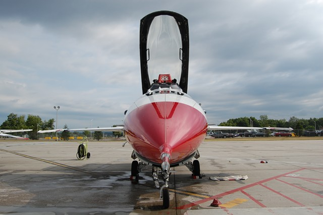 A U.S. Air Force Thunderbird jet at the Vermont Air National Guard base in South Burlington. - MATTHEW ROY