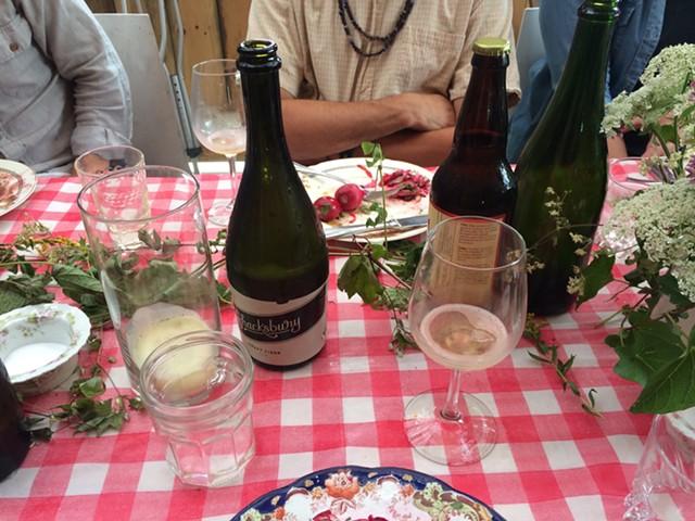 Bottles of Shacksbury and Fable Farm cider set for tasting - JULIA CLANCY