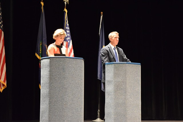 Democrat Sue Minter and Republican Phil Scott, candidates for governor, debate in Randolph on Monday. - TERRI HALLENBECK