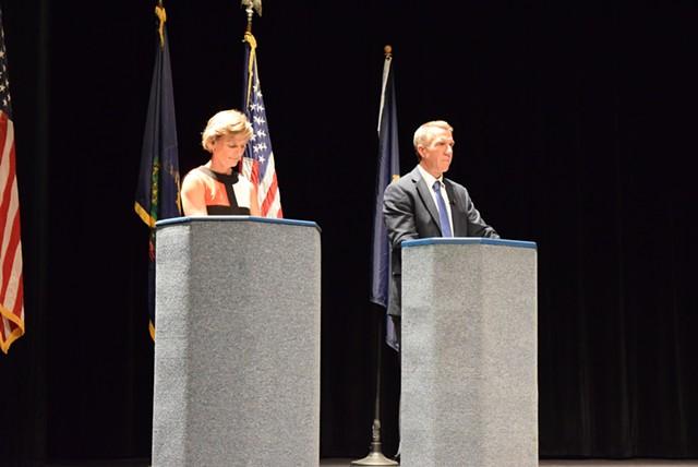 Democrat Sue Minter and Republican Phil Scott, candidates for governor, debate in Randolph on Monday. - TERRI HALLENBECK
