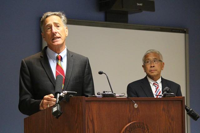 Gov. Peter Shumlin and Health Commissioner Harry Chen Thursday in Burlington - PAUL HEINTZ