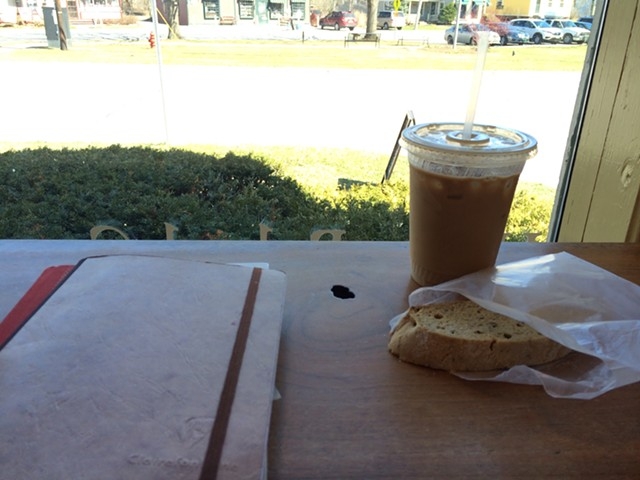 Iced coffee and maple walnut biscotti at Village Wine and Coffee in Shelburne - JULIA CLANCY