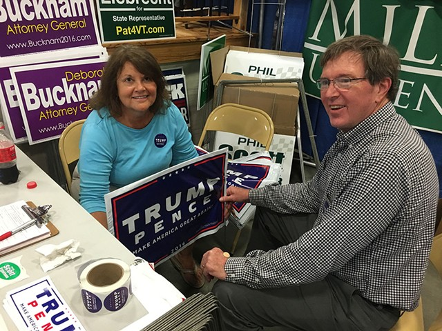 Pam and John Ackerson staff a Chittenden Country Republican Party booth Monday at the Champlain Valley Fair.