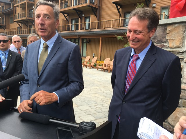 Gov. Peter Shumlin, left, and Michael Goldberg, the receiver appointed by a federal judge to oversee Jay Peak Resort and Burke Mountain - MARK DAVIS