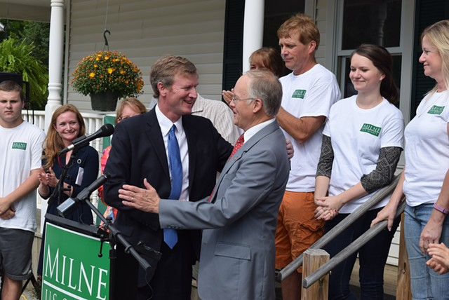 U.S. Senate candidate Scott Milne greets former governor Jim Douglas at his campaign kickoff Saturday. - TERRI HALLENBECK
