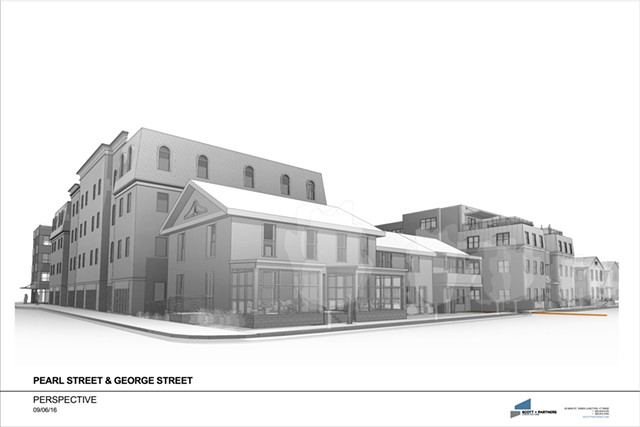 Rendering of the proposed George Street Lofts and Pearl Street Lofts - SCOTT+PARTNERS ARCHITECTURE