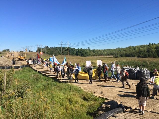 Marching on the pipeline route. - RACHEL JONES
