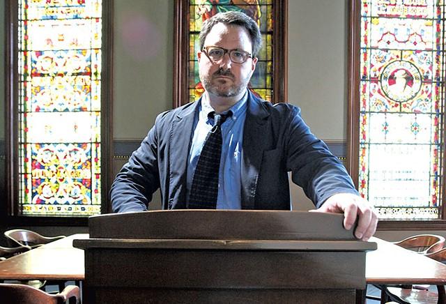 Aaron Kindsvatter in UVM's John Dewey Memorial Lounge - MATTHEW THORSEN