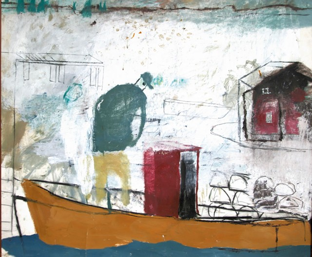 """Fisherman,"""" mixed media on paper by Donald Saaf - COURTESY OF KENT MUSEUM"""