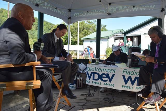 Republican Randy Brock (left), Progressive/Democrat David Zuckerman (center) and WDEV radio host Mike Smith at the Tunbridge World's Fair on Thursday - TERRI HALLENBECK