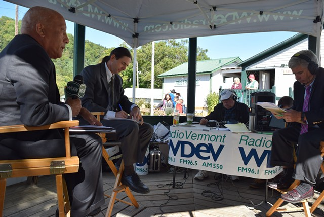 Republican Randy Brock (left), Progressive/Democrat David Zuckerman (center) and WDEV radio host Mike Smith at the Tunbridge World's Fair on Thursday - TERRI HALLENBECK