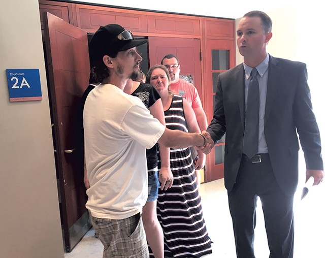 T.J. Donovan meeting courtroom vistors - MARK DAVIS