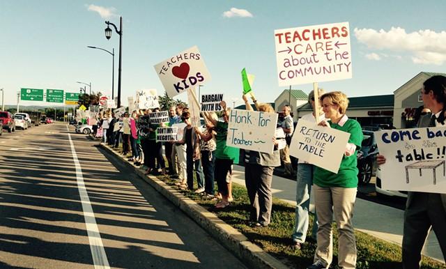 Burlington teachers picketing Tuesday. - MOLLY WALSH/SEVEN DAYS