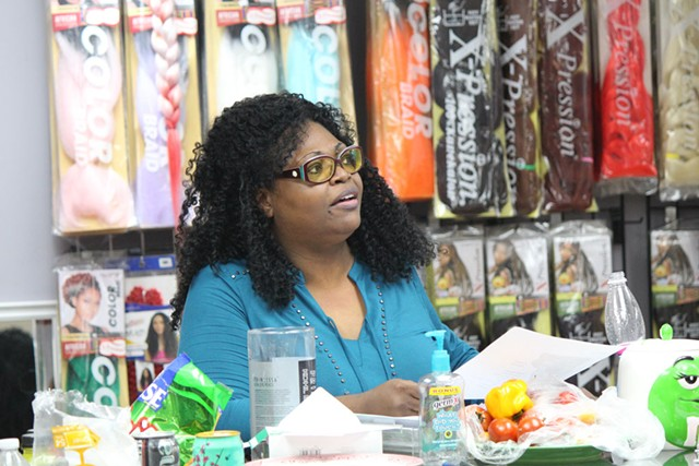 Ebony Nyomi leads a Black Lives Matter-Vermont meeting Monday in Winooski - PAUL HEINTZ