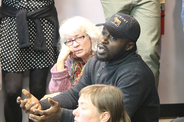 Edwin Owusu addresses a Black Lives Matter-Vermont meeting Monday in Winooski - PAUL HEINTZ