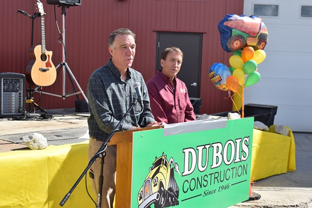 Lt. Gov. Phil Scott (left)  announces Saturday that he would sell his share of DuBois Construction if he's elected governor. - TERRI HALLENBECK