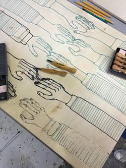 Detail of Sarah Letteny's work in progress woodblock - SADIE WILLIAMS