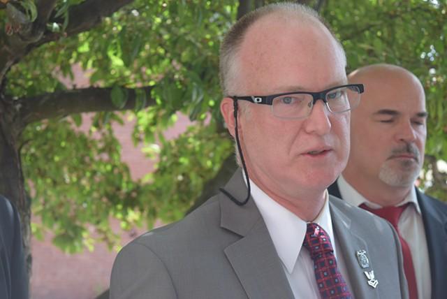 Washington County State's Attorney Scott Williams speaking to reporters - TERRI HALLENBECK