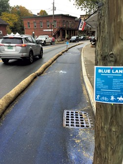 The Blue Lane, a temporary multiuse path down Main Street - KIRK KARDASHIAN