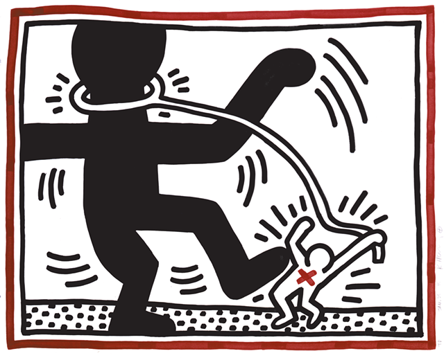 """Untitled,"" 1985 lithogaph by Keith Haring"