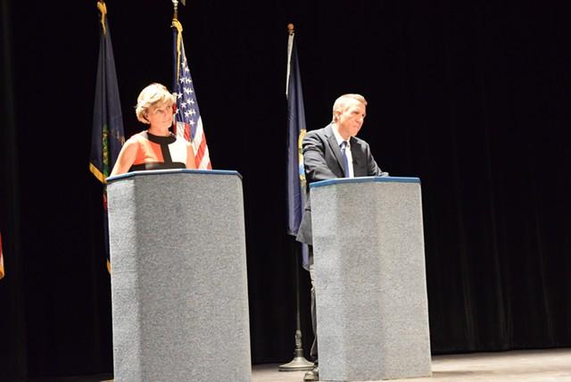 Democrat Sue Minter and Republican Phil Scott at an earlier debate - TERRI HALLENBECK