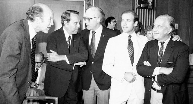 1975: Patrick Leahy, center, with Senators Alan Simpson, Bob Dole, Joe Biden and Charles Mathias - COURTESY OF SEN. LEAHY'S OFFICE
