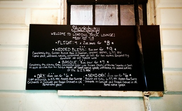 Menu at Shacksbury Cider's tasting room - JULIA CLANCY