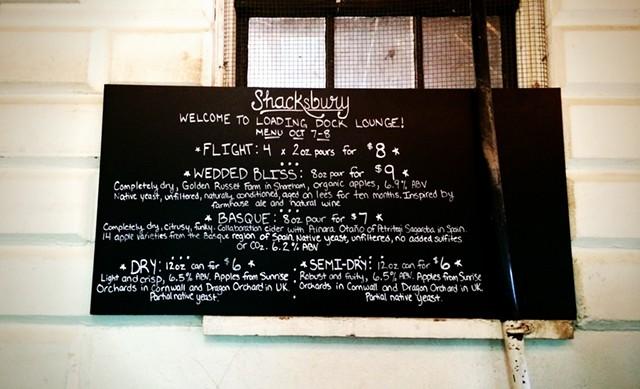 Menu at Shacksbury Cider's tasting room - JULIA CLANCY