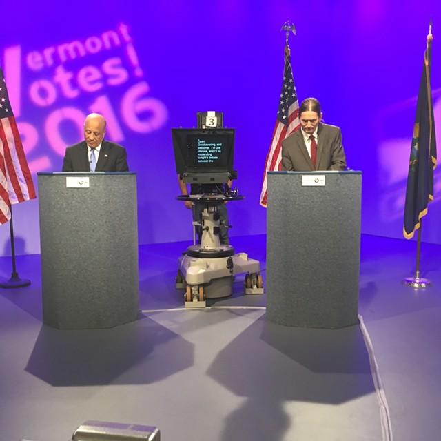 Republican Randy Brock (left) and Progressive/Democrat David Zuckerman, candidates for lieutenant governor, debate Thursday at Vermont PBS. - TERRI HALLENBECK