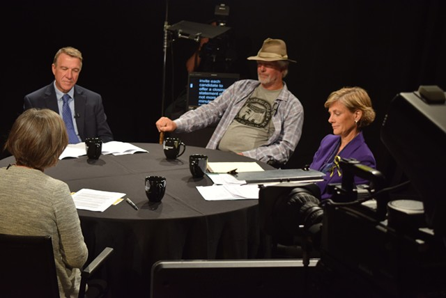 Gubernatorial candidates Phil Scott (left), Bill Lee and Sue Minter at a roundtable forum Monday with moderator Cathy Resmer. - TERRI HALLENBECK