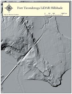 LiDAR image of Fort Ticonderoga