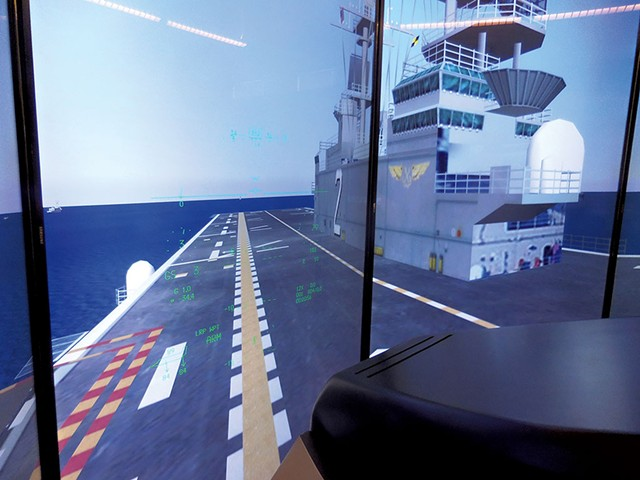 Simulated aircraft carrier in F-35B Marine version - COURTESY OF ADAM L. ALPERT