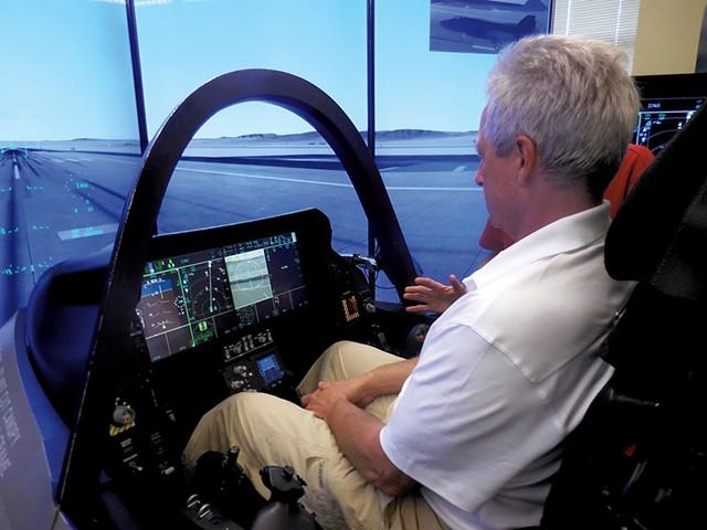 Adam L. Alpert in F-35 simulator - COURTESY OF ADAM L. ALPERT