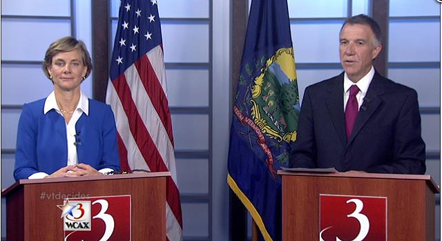 Democrat Sue Minter and Republican Phil Scott face off in a gubernatorial debate Tuesday night. - WCAX-TV