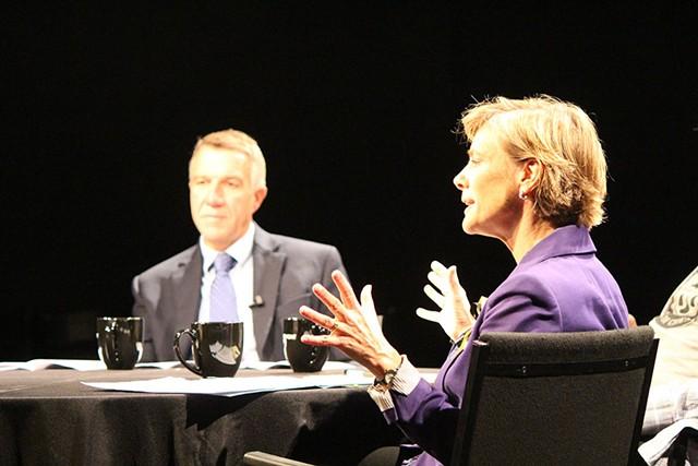 Phil Scott and Sue Minter at a forum Monday in Burlington - PAUL HEINTZ