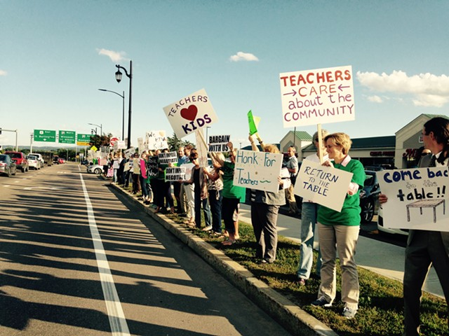 Burlington teachers picketing last month. - MOLLY WALSH