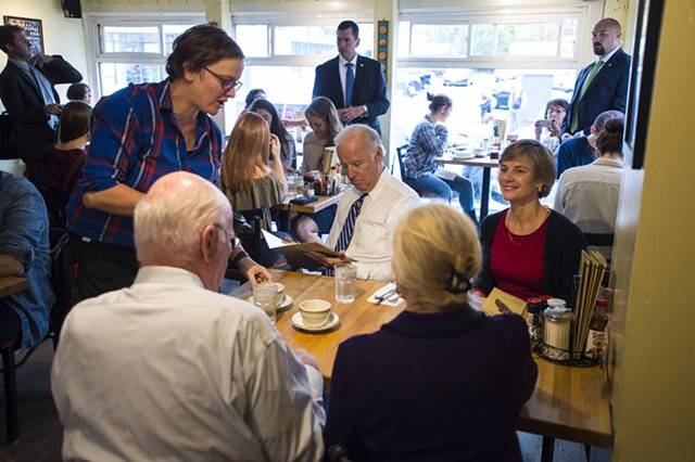 Vice President Joe Biden dines with Sue Minter and Patrick and Marcelle Leahy Friday morning at Penny Cluse Café. - POOL: GLENN RUSSELL/BURLINGTON FREE PRESS