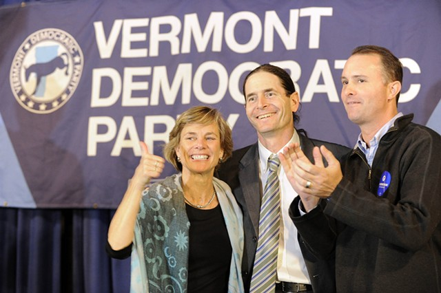 Sue Minter, Democratic candidate for governor; David Zuckerman, Progressive/Democratic candidate for lieutenant governor; and T.J. Donovan, Democratic candidate for attorney general at Friday's Montpelier rally - JEB WALLACE-BRODEUR/SEVEN DAYS