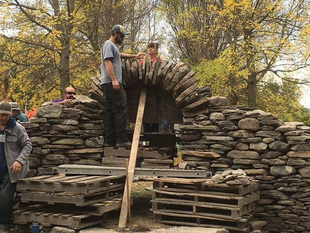 """Students at work on """"Allée Portal"""" - COURTESY OF PAT PEARSALL"""