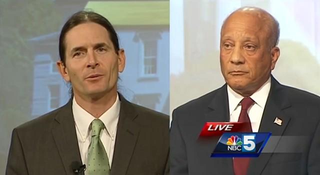 David Zuckerman, left, and Randy Brock at a My NBC5 debate Monday in Burlington - SCREENSHOT