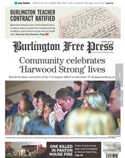 Tuesday's Burlington Free Press - SCREENSHOT