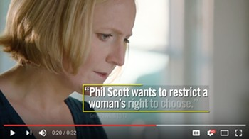 A frame from a recent Planned Parenthood Action Fund ad - SCREENSHOT