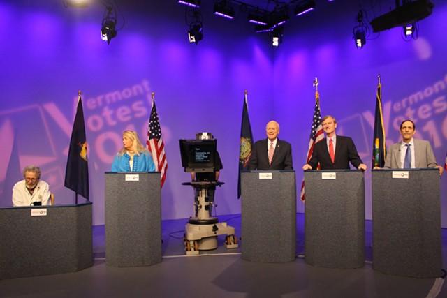 Peter Diamondstone, Cris Ericson, Sen. Patrick Leahy, Scott Milne and Jerry Trudell at a Vermont PBS debate Thursday night in Colchester - PAUL HEINTZ