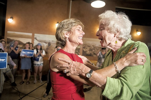 Sue Minter embracing former Vermont - governor Madeleine Kunin - FILE: JAMES BUCK