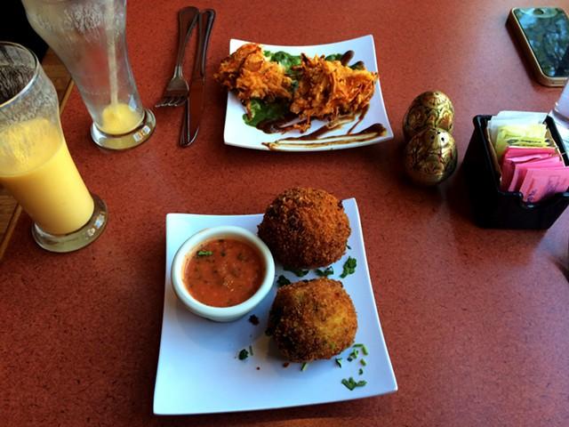 Aloo Chop and fried pakora at Sherpa Kitchen - JULIA CLANCY