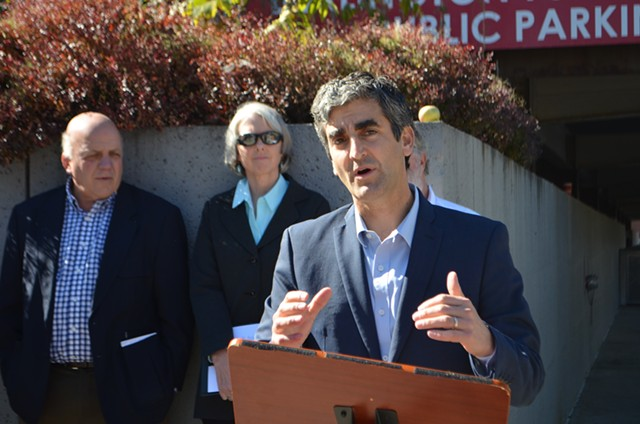 Mayor Miro Weinberger speaking at a news conference about ballot questions - SASHA GOLDSTEIN
