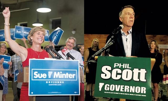 Sue Minter and Phil Scott - FILE PHOTO