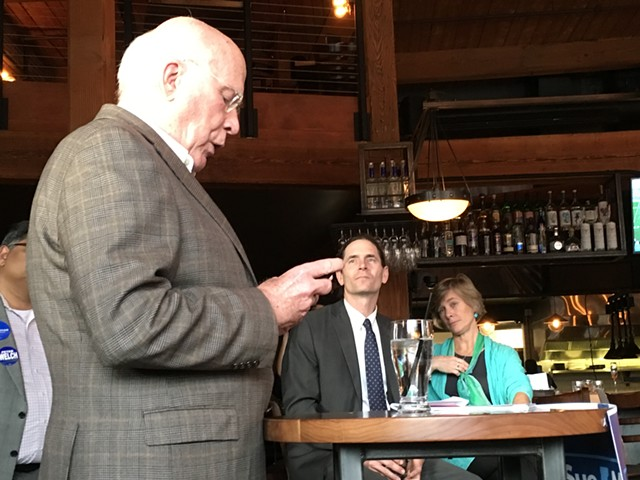 Sen. Patrick Leahy reads a letter from FBI Director James Comey at a campaign event Sunday in Winooski.